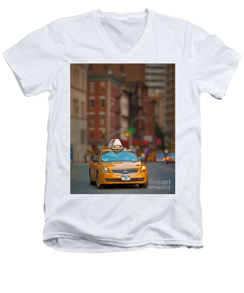 Men's V-Neck T-Shirt featuring the digital art Taxi by Jerry Fornarotto