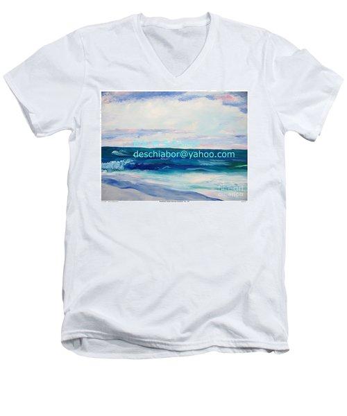 Men's V-Neck T-Shirt featuring the painting Ocean Assateague Virginia by Eric  Schiabor