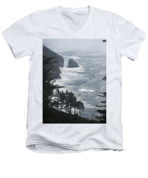 Men's V-Neck T-Shirt featuring the photograph Ocean Drop by Fiona Kennard