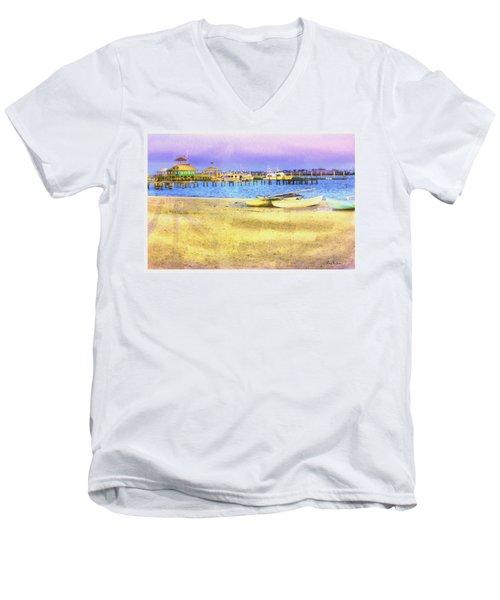 Coastal - Beach - Boats - Ocean Front Property Men's V-Neck T-Shirt