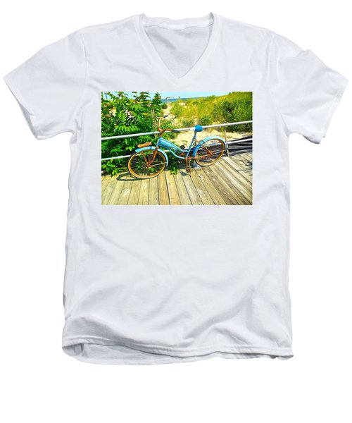 Men's V-Neck T-Shirt featuring the photograph Ocean Grove Bike by Joan Reese