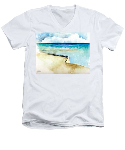 Ocean Pier In Key West Florida Men's V-Neck T-Shirt
