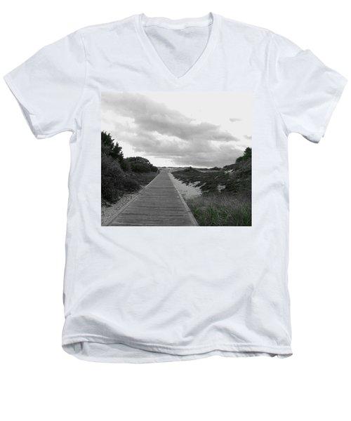 Men's V-Neck T-Shirt featuring the photograph Ocean Walk Island Beach State Park New Jersey by Pamela Hyde Wilson