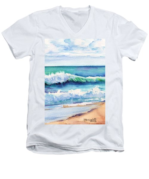 Men's V-Neck T-Shirt featuring the painting Ocean Waves Of Kauai I by Marionette Taboniar
