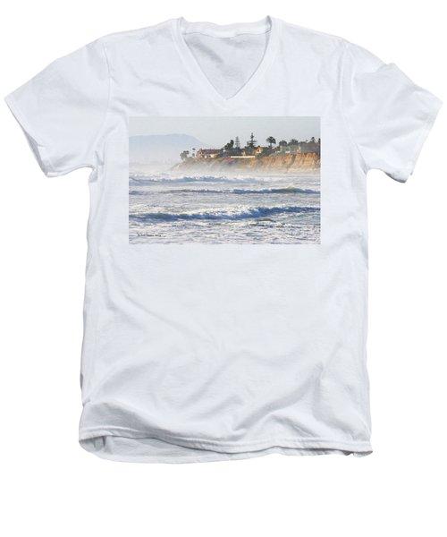 Oceanside California Men's V-Neck T-Shirt by Tom Janca