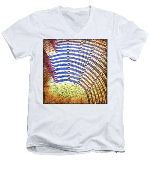 Men's V-Neck T-Shirt featuring the painting Ochre Auditorium by Mark Howard Jones