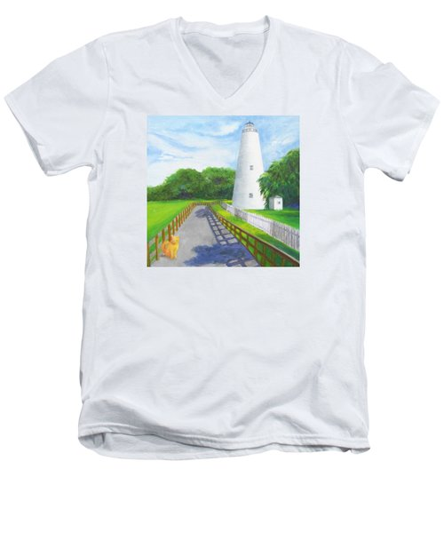 Ocracoke And Friend Men's V-Neck T-Shirt by Anne Marie Brown