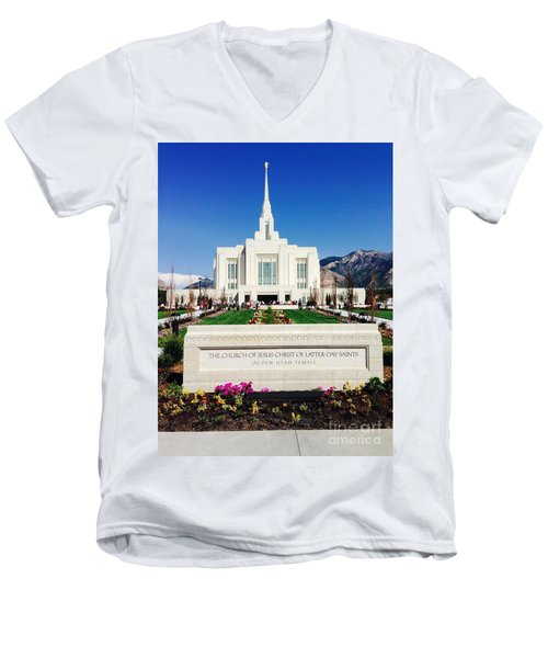 Men's V-Neck T-Shirt featuring the photograph Ogden Temple 1 by Richard W Linford