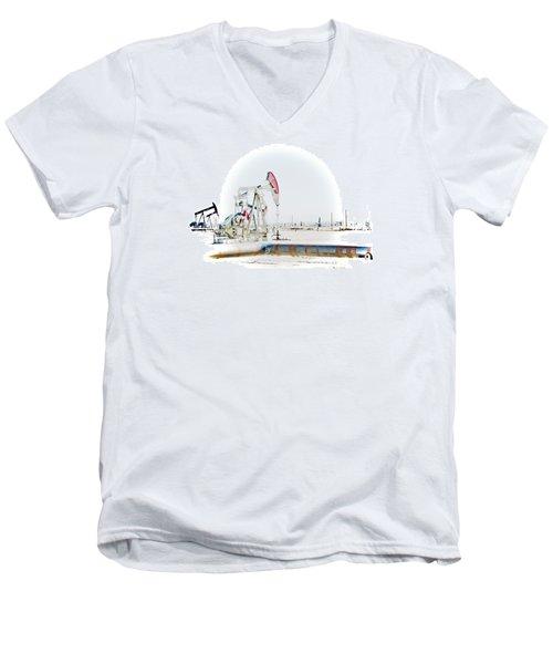 Oil Field Men's V-Neck T-Shirt by Joel Loftus