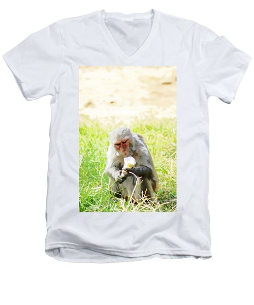 Oil Painting - A Monkey Eating An Ice Cream Men's V-Neck T-Shirt