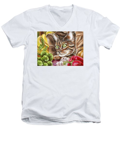 Men's V-Neck T-Shirt featuring the painting Ok Now What by Hiroko Sakai