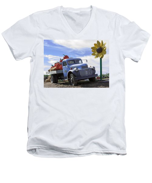Men's V-Neck T-Shirt featuring the photograph Old Blue Farm Truck  by Patrice Zinck
