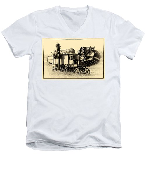 Old Case Thresher Men's V-Neck T-Shirt by Bill Kesler