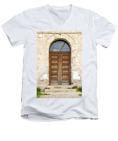 Men's V-Neck T-Shirt featuring the photograph Old Church Door by Les Palenik