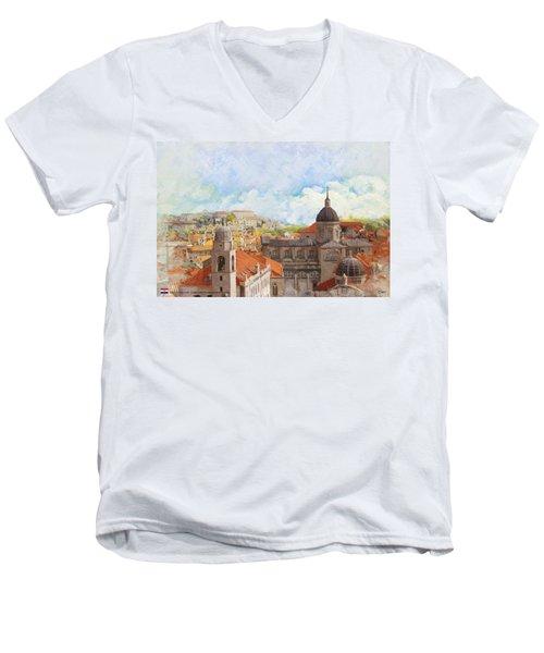 Old City Of Dubrovnik Men's V-Neck T-Shirt
