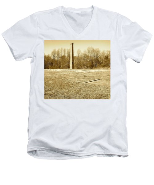 Men's V-Neck T-Shirt featuring the photograph Old Faithful Smoke Stack by Amazing Photographs AKA Christian Wilson