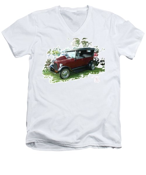 Old Ford Men's V-Neck T-Shirt by Debra Baldwin