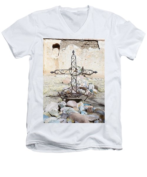 Men's V-Neck T-Shirt featuring the photograph Old Gravestone Marker by Kerri Mortenson