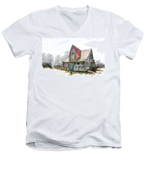 Old House Men's V-Neck T-Shirt by Debra Baldwin