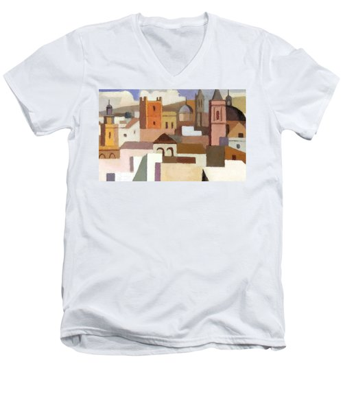 Old Jerusalem Men's V-Neck T-Shirt by Munir Alawi