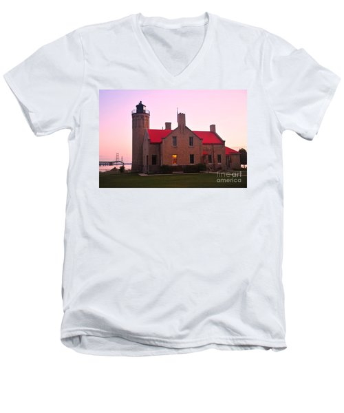 Men's V-Neck T-Shirt featuring the photograph Old Mackinac Point Lighthouse by Terri Gostola