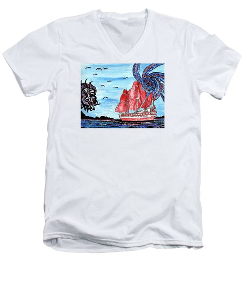 Old Man And The Sea Men's V-Neck T-Shirt by Connie Valasco