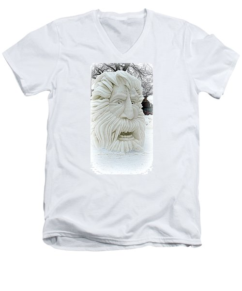 Old Man Winter Snow Sculpture Men's V-Neck T-Shirt