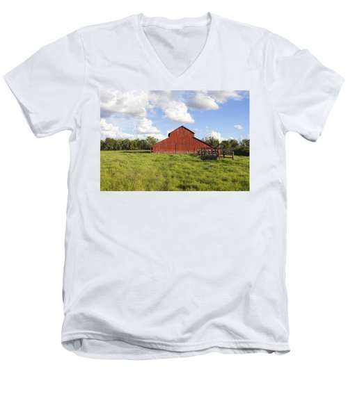Men's V-Neck T-Shirt featuring the photograph Old Red Barn by Mark Greenberg