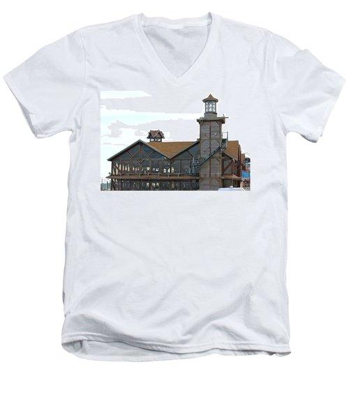 Old Restaurant                 Men's V-Neck T-Shirt by Lorna Maza