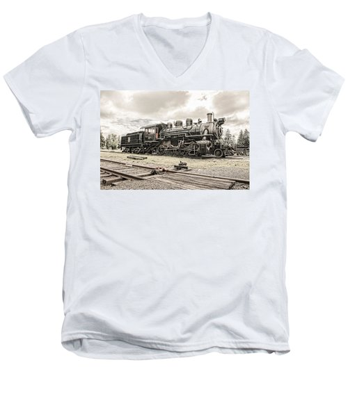 Men's V-Neck T-Shirt featuring the photograph Old Steam Locomotive No. 97 - Made In America by Gary Heller