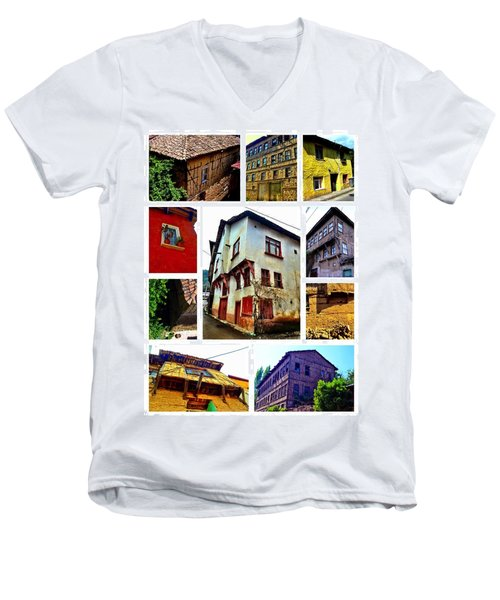 Men's V-Neck T-Shirt featuring the photograph Old Turkish Houses by Zafer Gurel