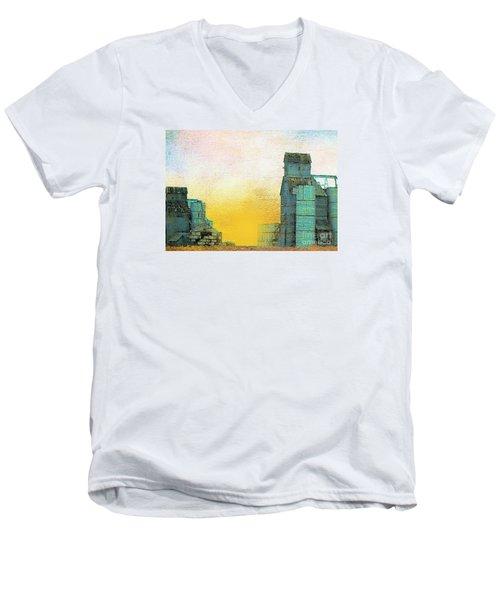 Old Used Grain Elevator Men's V-Neck T-Shirt