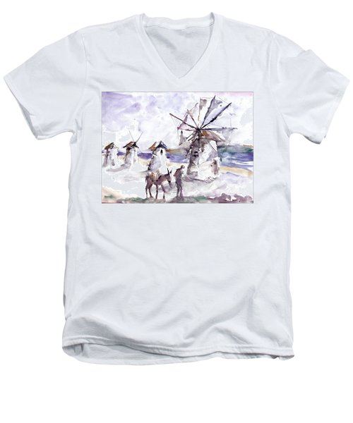 Men's V-Neck T-Shirt featuring the painting Old Windmills At Bodrum by Faruk Koksal