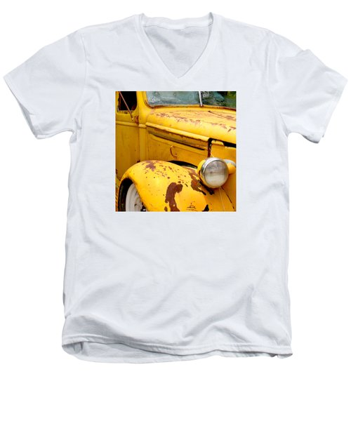 Old Yellow Truck Men's V-Neck T-Shirt by Art Block Collections