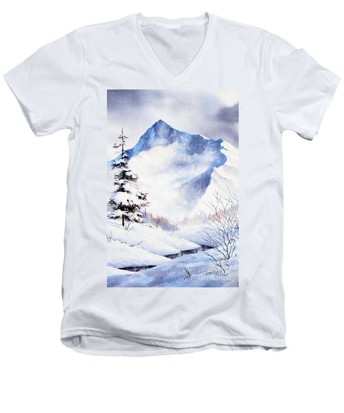 Men's V-Neck T-Shirt featuring the painting O'malley Peak by Teresa Ascone