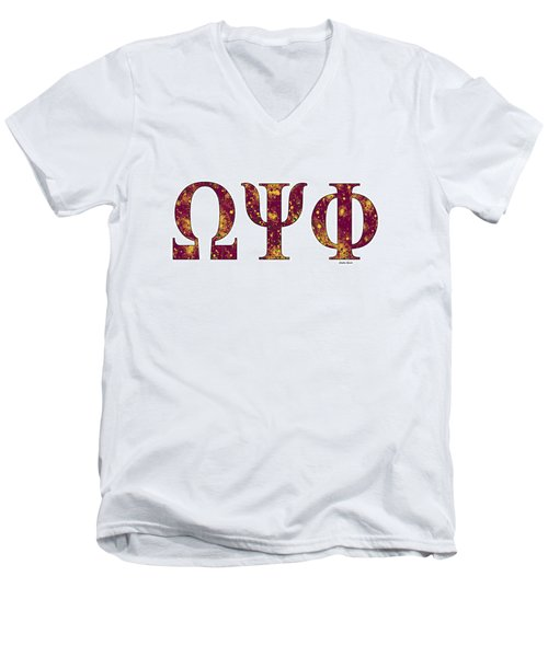Men's V-Neck T-Shirt featuring the digital art Omega Psi Phi - White by Stephen Younts