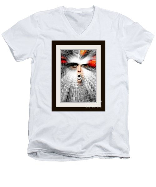 Men's V-Neck T-Shirt featuring the painting OMG by Rafael Salazar