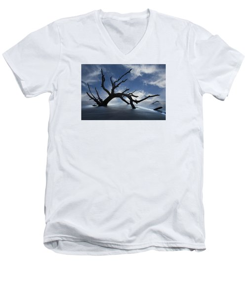 Men's V-Neck T-Shirt featuring the photograph On A Misty Morning by Debra and Dave Vanderlaan