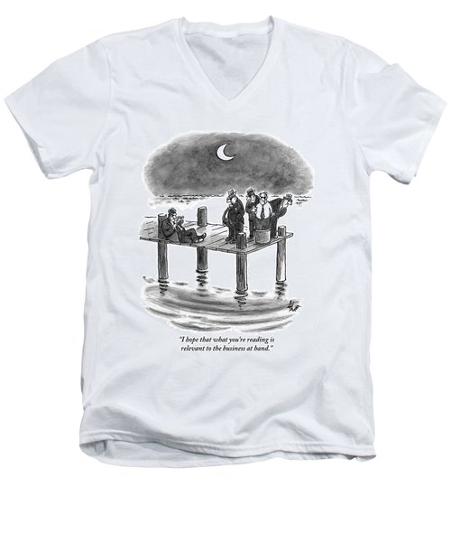 On A Pier, Three Mobsters Prepare To Drown Men's V-Neck T-Shirt