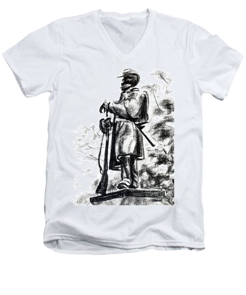 On Duty In Brigadoon  No Ch101 Men's V-Neck T-Shirt by Kip DeVore