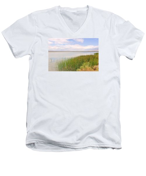 Men's V-Neck T-Shirt featuring the photograph On Shore by Marilyn Diaz