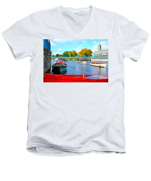 Men's V-Neck T-Shirt featuring the photograph On The Garavogue by Charlie and Norma Brock