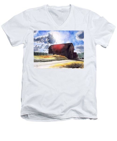 On The Macon Road. - Saline Michigan Men's V-Neck T-Shirt by Yoshiko Mishina