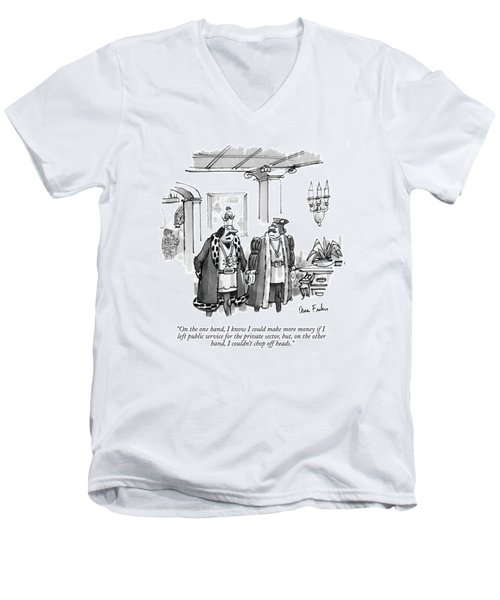 On The One Hand Men's V-Neck T-Shirt