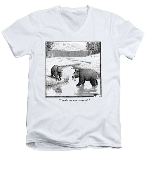 One Bear Speaks To Another As They Catch Fish Men's V-Neck T-Shirt