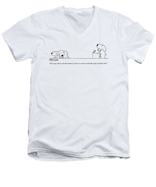 One Dog Speaks On A Podium To Several Men's V-Neck T-Shirt