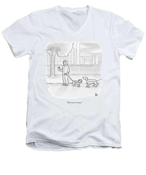 One Dog Talks To Another Men's V-Neck T-Shirt by Paul Noth