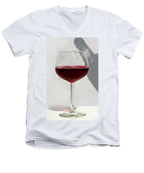 One Glass Of Red Wine With Bottle Shadow Art Prints Men's V-Neck T-Shirt by Valerie Garner