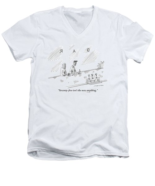 One Old Man Drinking At A Bar Speaks To Another Men's V-Neck T-Shirt
