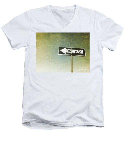 One Way Road Sign Men's V-Neck T-Shirt